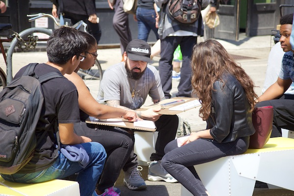 Uni portable drawing studio on Broadway for Earth Day, 2016