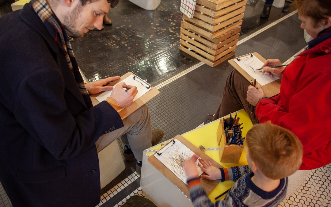 Creating a place to gather around drawing at Chelsea Market