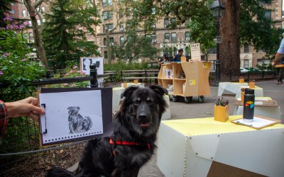 A residency for DRAW, a pop-up drawing studio, in Washington Square Park