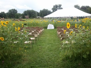The sunflower room, set-up for a wedding.