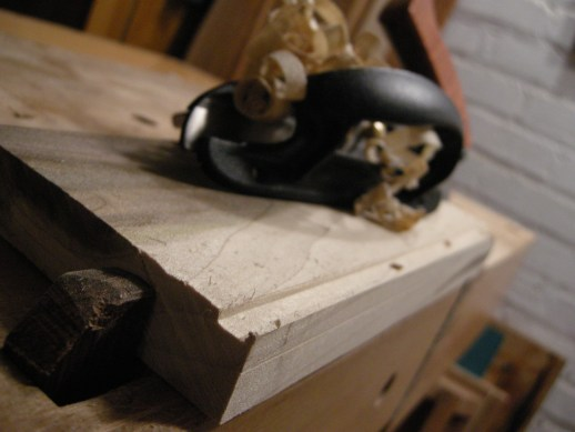 The plow plane establishes the inside edge of the rabbet joint.