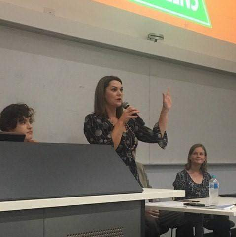 Sarah Hanson Young speaks at an extremist organised event.