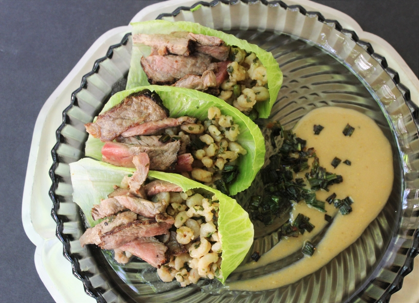 surf turf scampi lettuce cups
