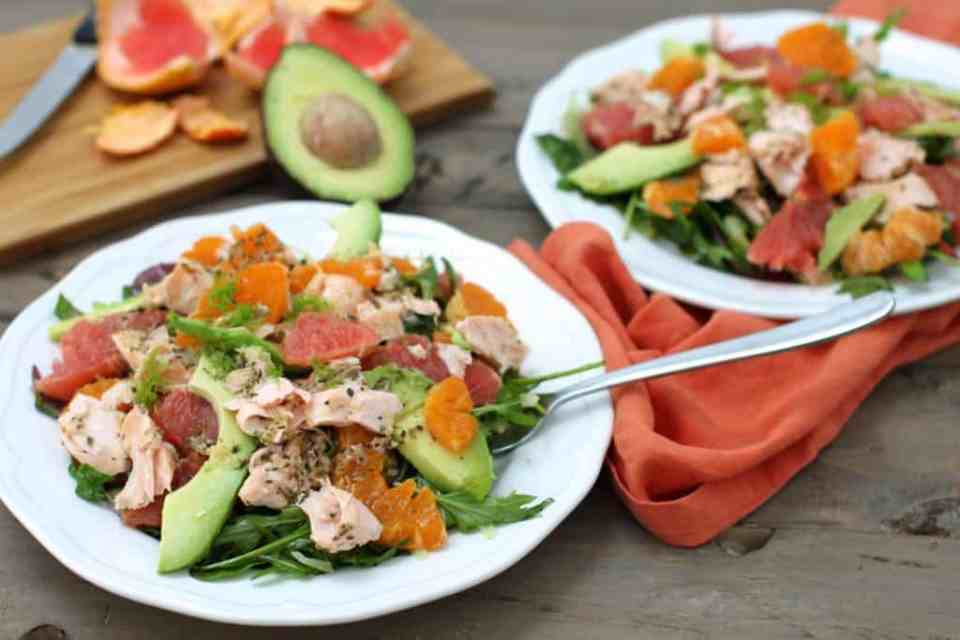 citrus salmon avocado salad AIP