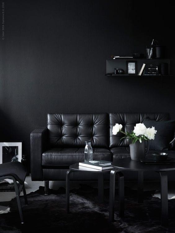 All black living room