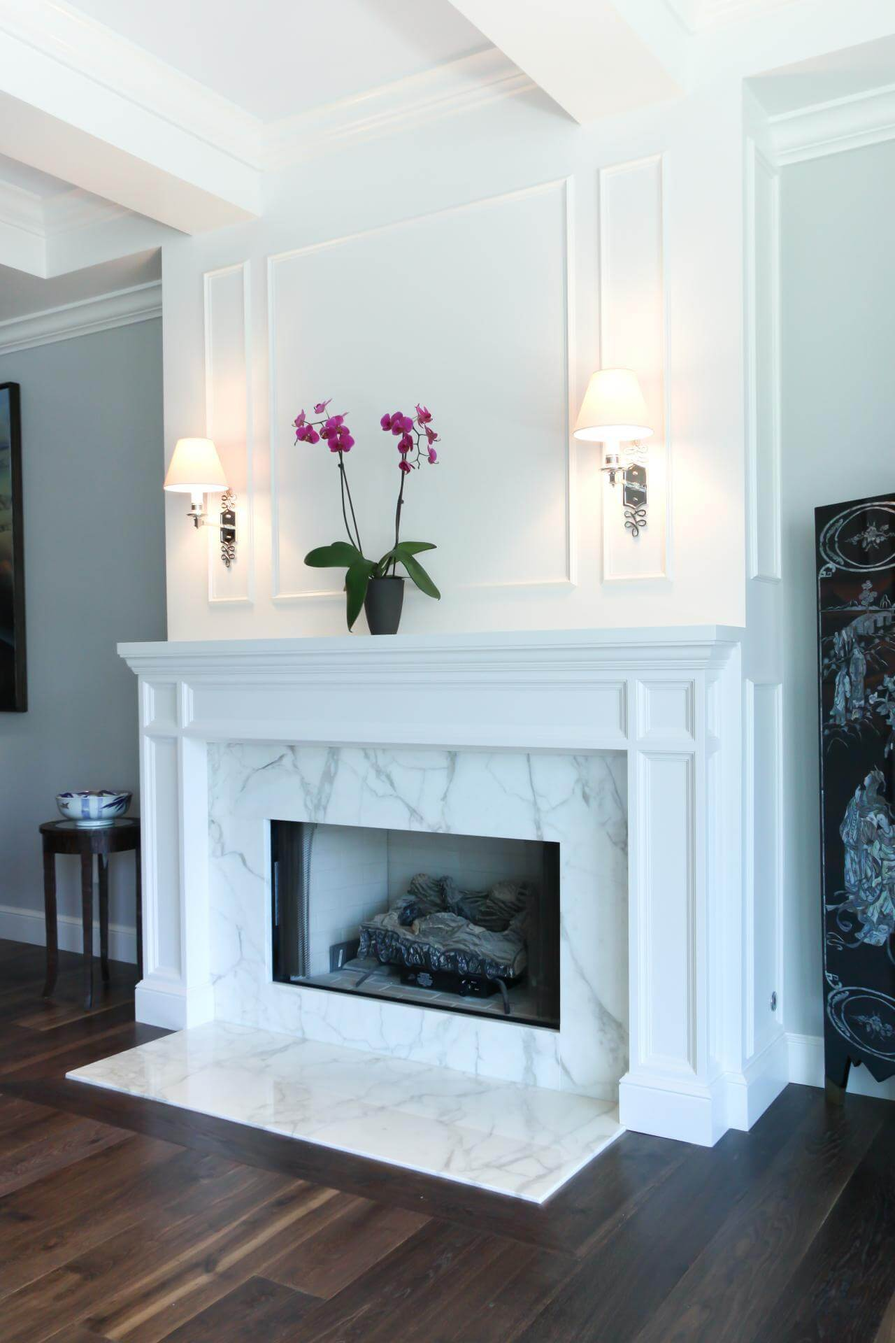 All white fireplace decor ideas for living room