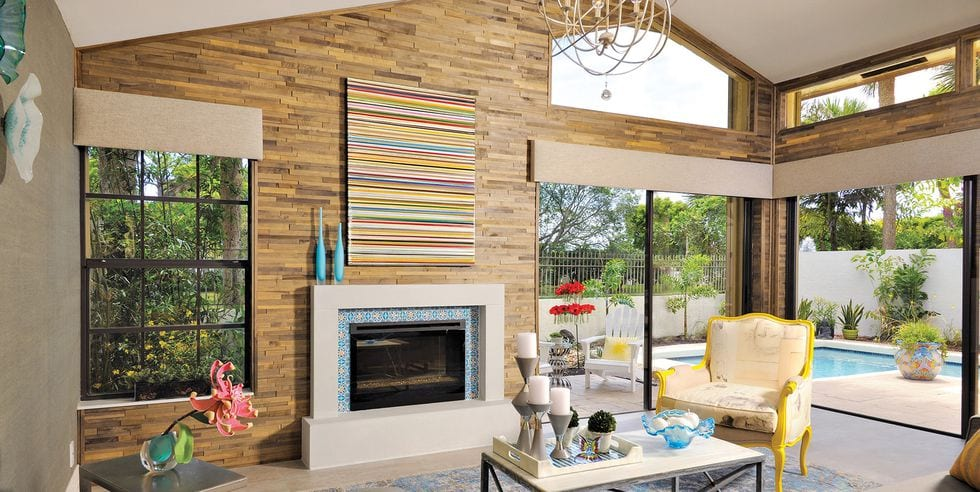 Fireplace decor ideas in colourful living room