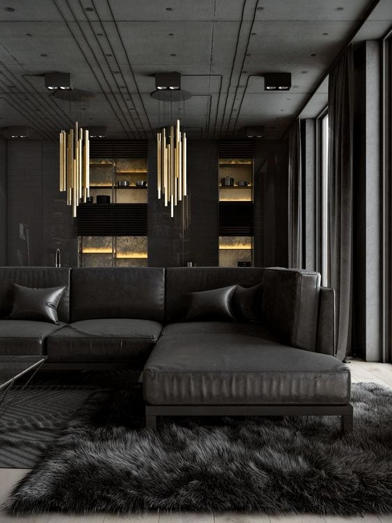 Luxurious black living room decor ideas