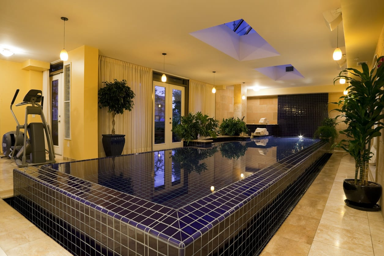 swimming pool home interior inside of penthouse indoors