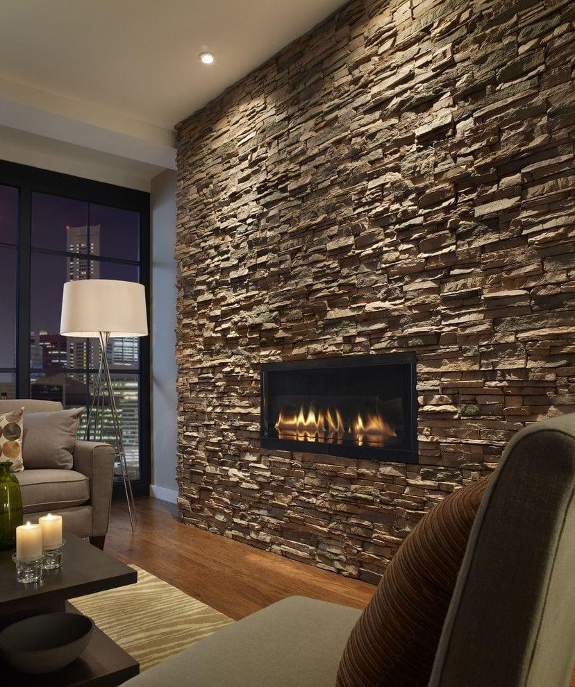 Stylish Stone fireplace wall decor ideas