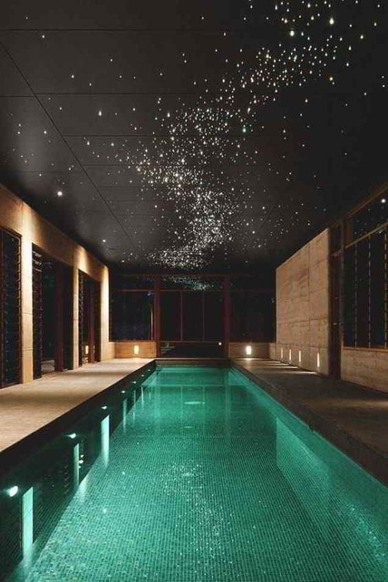 indoor pool with stars rooftop design ideas