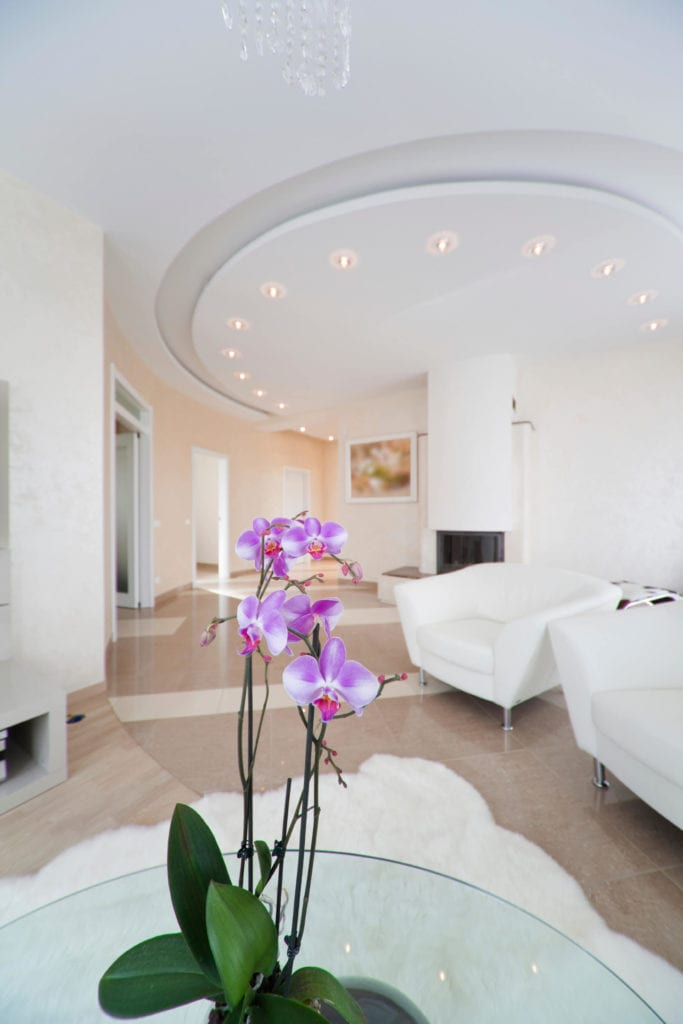 Circular tray ceiling for living room