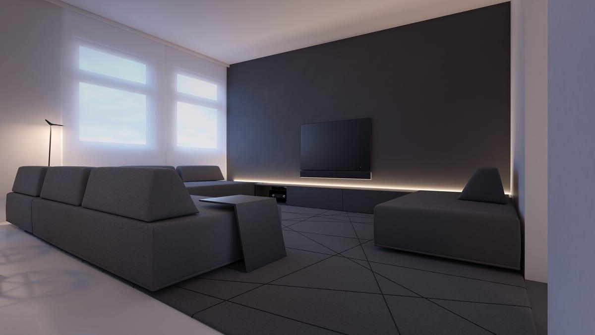 Dark grey living room minimal decor ideas
