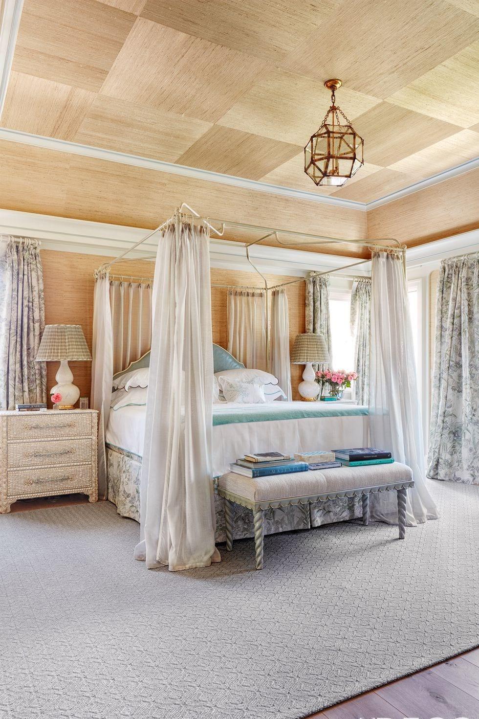 GRASS CLOTH Bedroom Ceiling Design Ideas