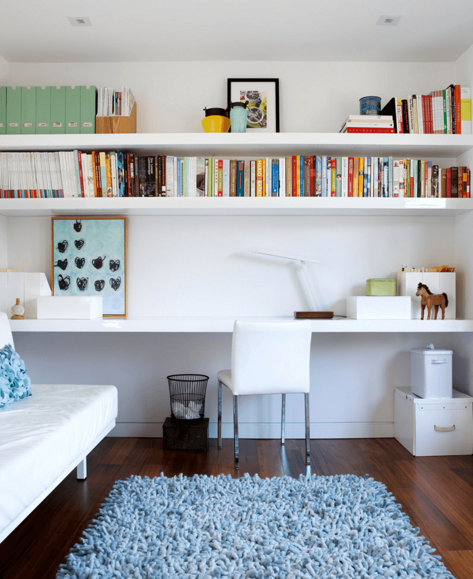 Home Office Shelves In Bedroom Designs