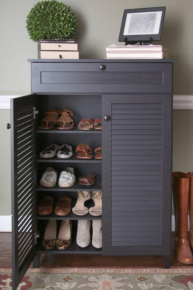 Louvered doors shoe rack design ideas