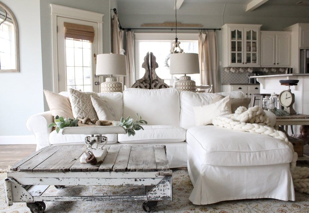 Monochromatic white rustic living room design ideas