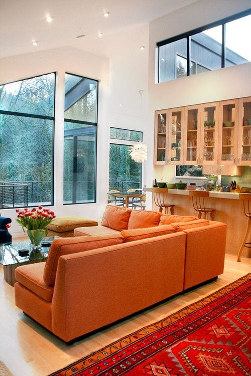 Orange living room sofa ideas