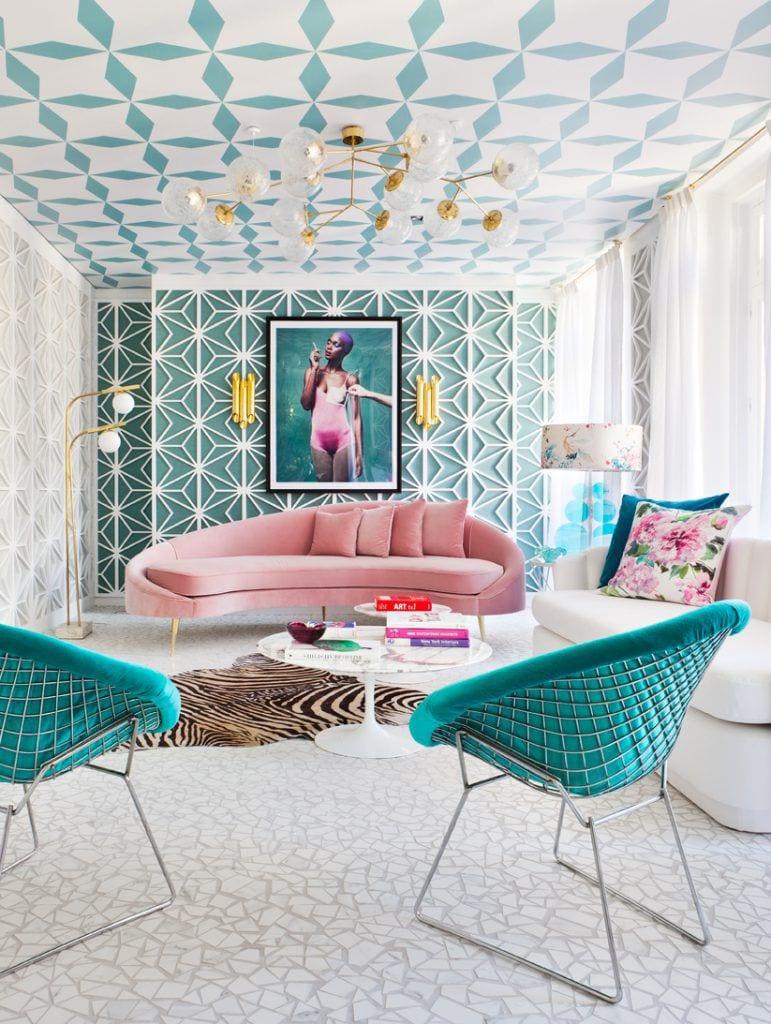 Patterned ceiling design for living room