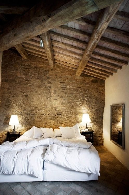 Raw stones Rustic Bedroom Ideas