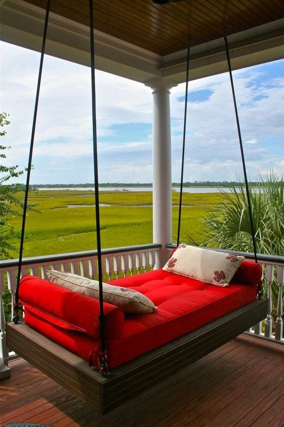 Red Swing In Balcony Ideas