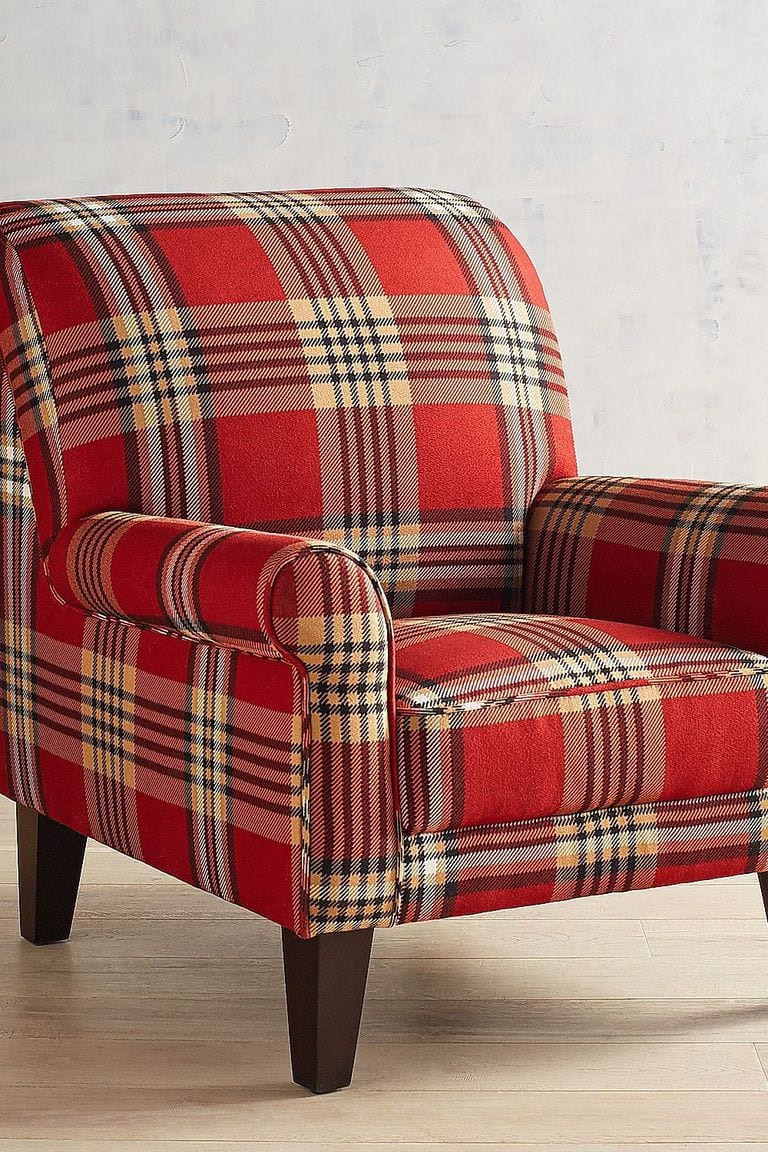 Red check living room chair