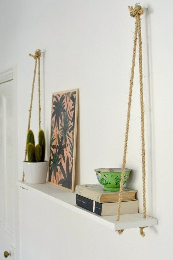 Simple hanging shelf with rope wall decor ideas