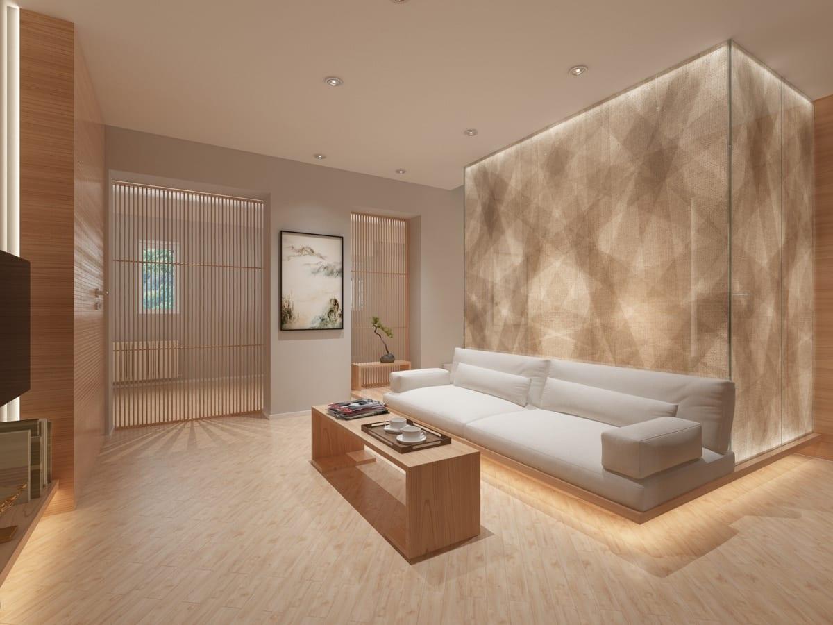 Wooden floor living room minimal decor ideas