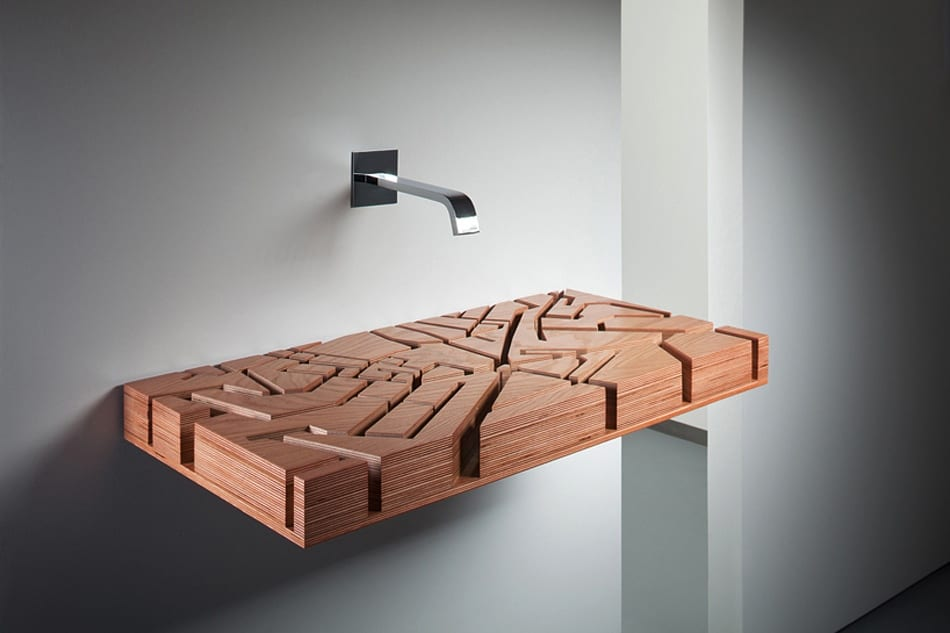 Wooden maze washbasin design ideas