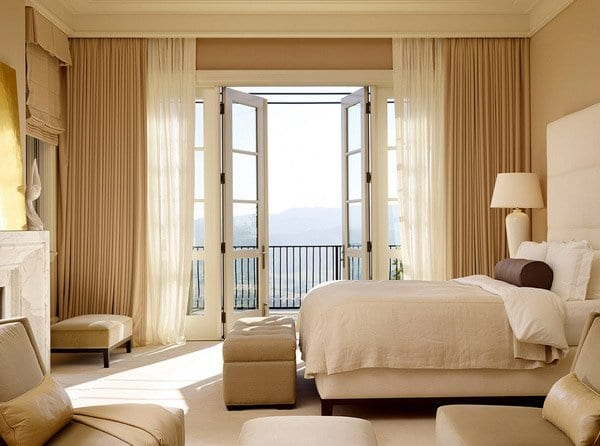 golden and white bedroom curtains designs
