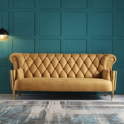 20. Bright chesterfield sofa slays in the room every time