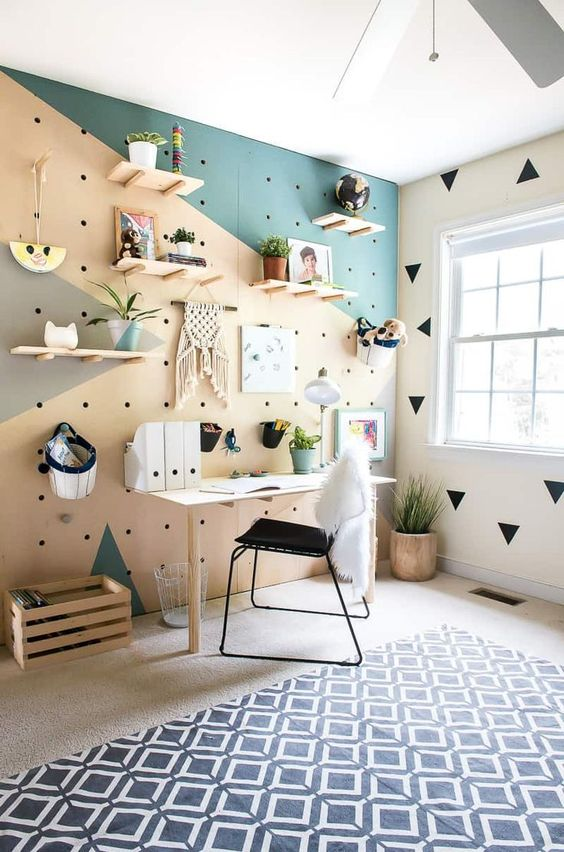 4. Peg board wall turning into a shelves wall nice idea using different materials and colors making it contrasting
