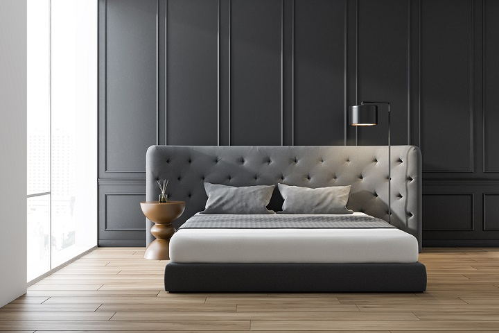 Interior Of Minimalistic Bedroom With White And Gray Walls, Wood