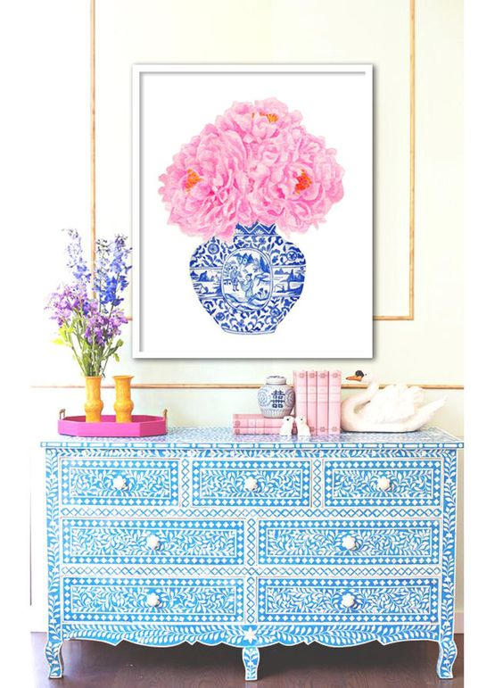 25. Moroccan blue furniture with beautiful design in morrocan style with blues and pinks painting, artifacts