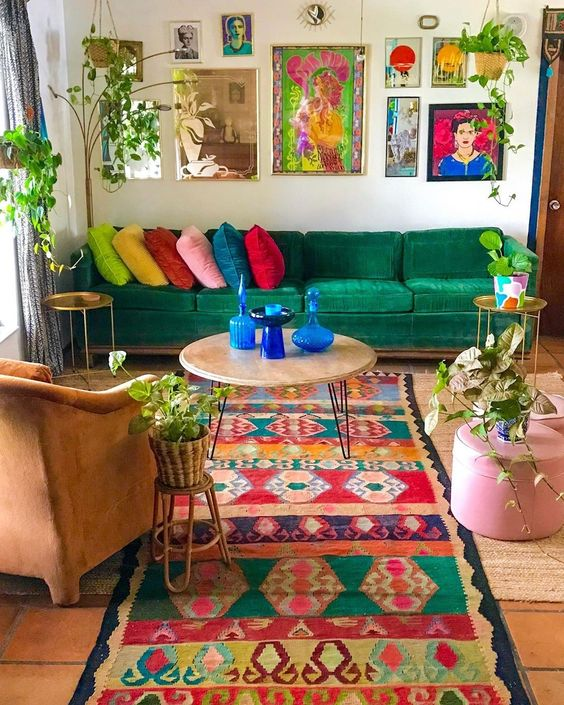 Colorful Printed Rug, Centre Table, Potted Plants- Boho Home Decor Ideas