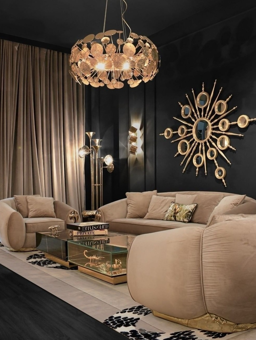 Beautiful Chandelier- Couch- Wall Decor-Centre table-Luxe Living room