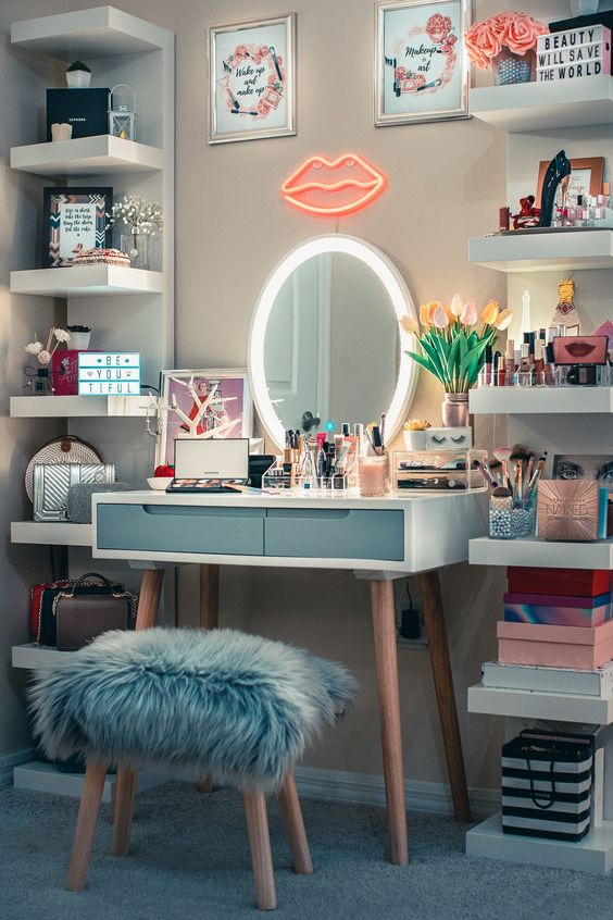 Makeup Vanity Table Decor Ideas With Cool and Comfy Cushion Stool