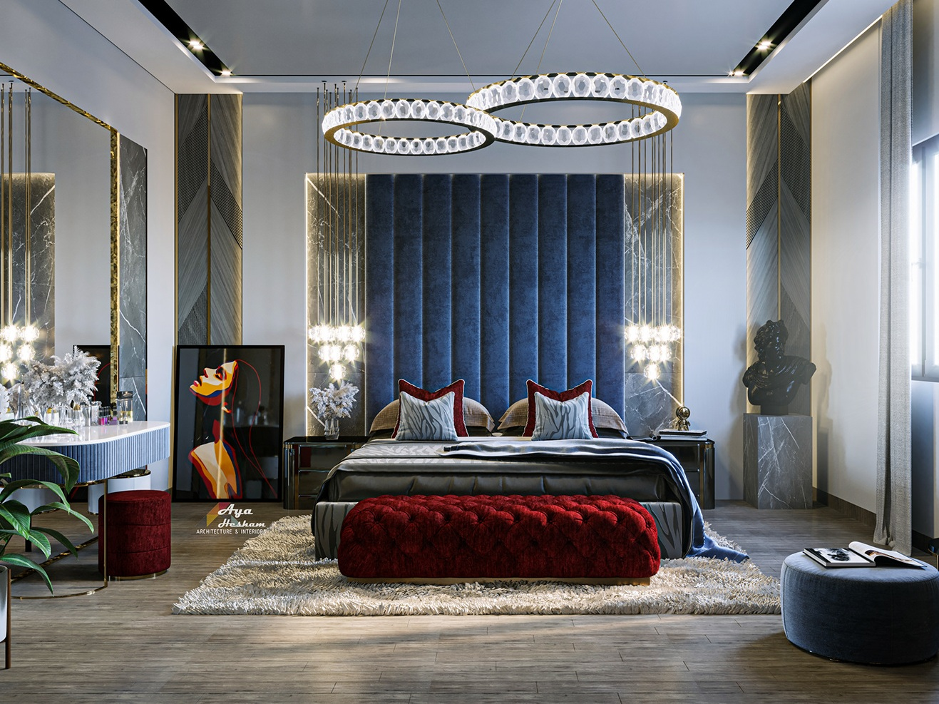 Blue bedroom with a velvet touch and modern chandeliers for master bedroom