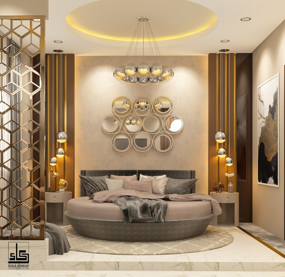 Circular bed,pretty lights and modern mirrors to enhance your master bedroom