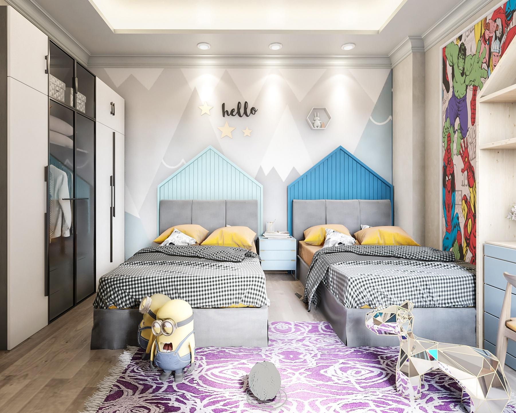 Elegant Superhero Theme Kids Bedroom Ideas With Shared Bed