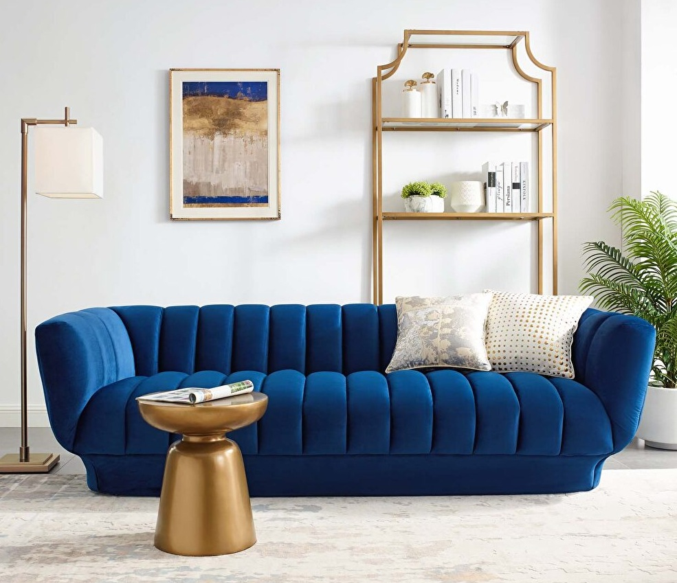 Modern Blue Velvet Sofa Design Ideas