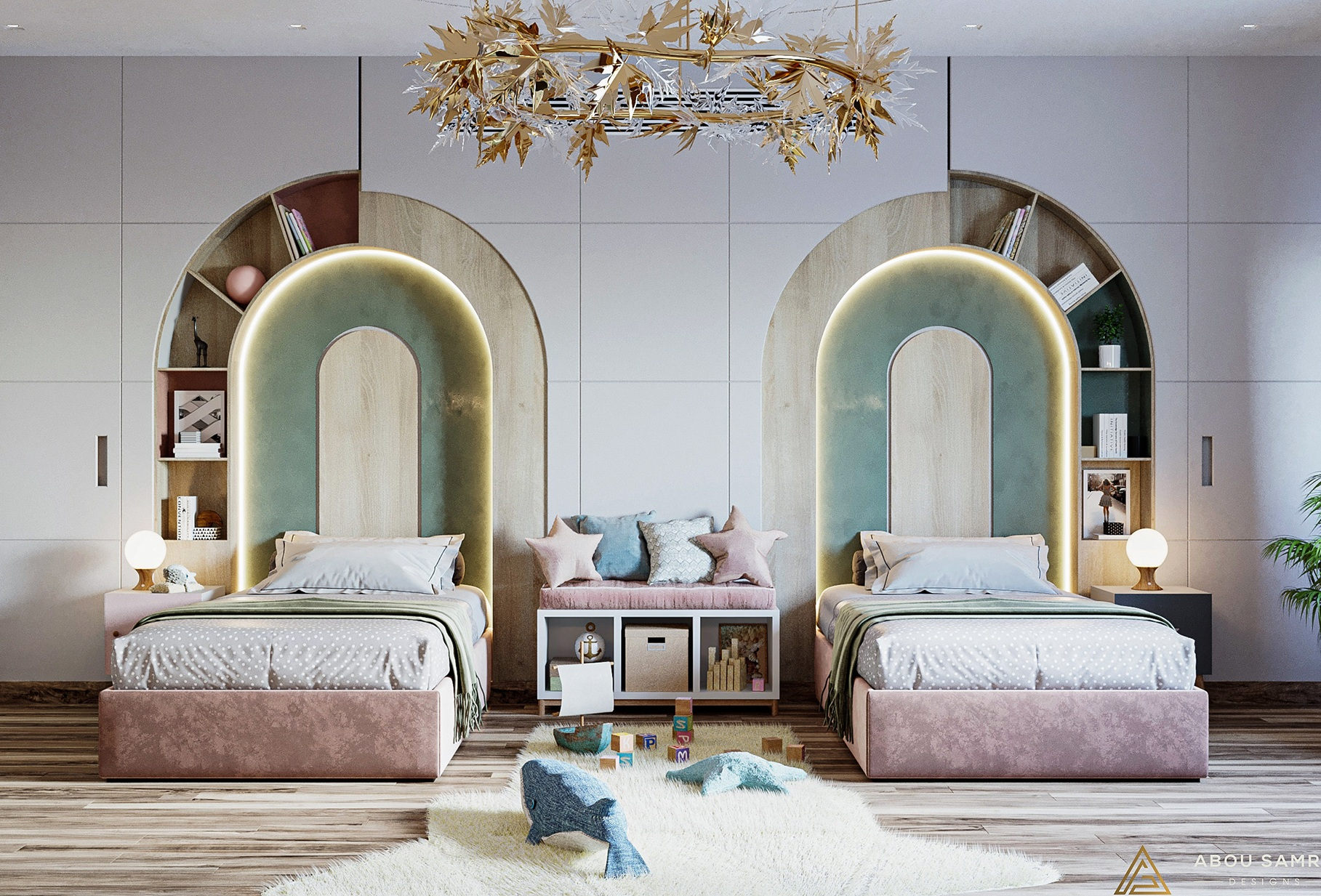 Simple and Subtle Twin Bedroom For Kids With Beautiful Chandelier