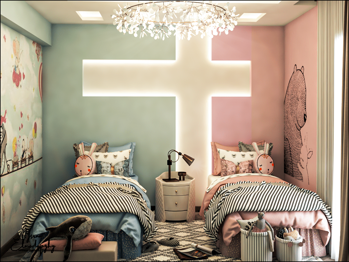 Small Bedroom With Twin Beds And Cute Colors