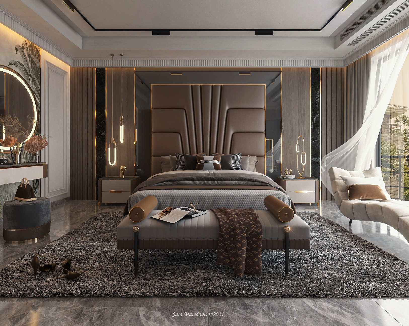 Stunning brown, grey and gold combination for your master bedroom