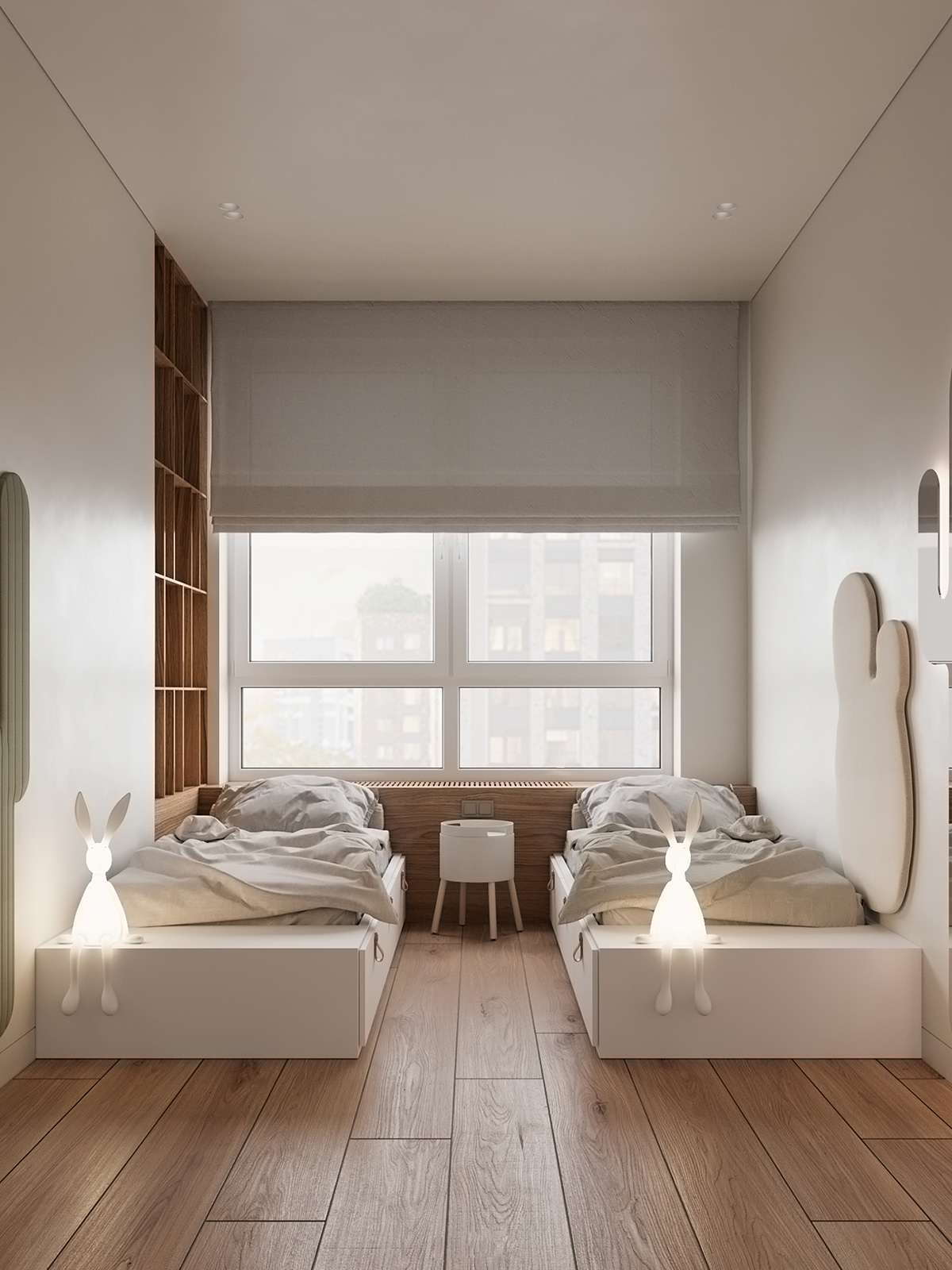 Wooden Floor with Cool Bunny Lights For Kids Shared Bedroom