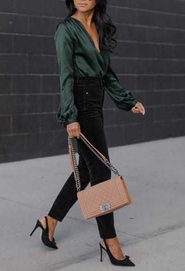pair sling back heels with casual outfits