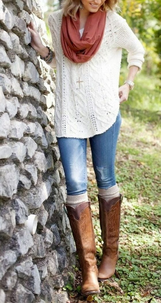 style Cowboy Boots with casual t shirts