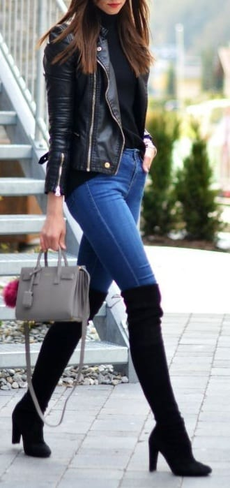 style Over The Knee Boots with jeans
