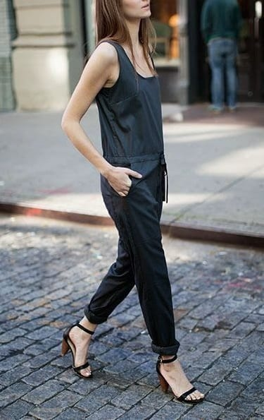 style cone heels with jump suits