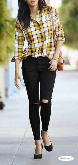 style flat ballet shoes with ripped jeans